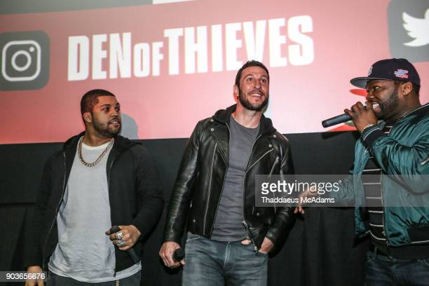 OShea Jackson Jr Pablo Schreiber and Curtis '50 Cent' Jackson at The Den of Thieves special screening at Regal South Beach on January 10 2018 in...