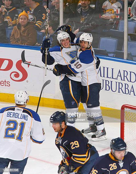 Oshie and Andy McDonald of the St Louis Blues celebrate Oshie's goal in the second period against the Buffalo Sabres at HSBC Arena on February 18...