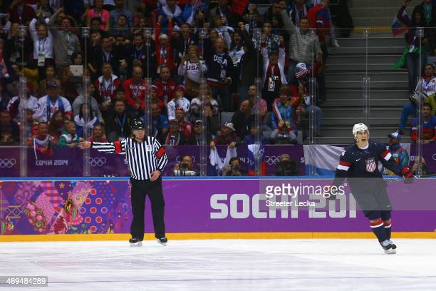 J Oshie of the United States celebrates after scoring on a shootout against Sergei Bobrovski of Russia to win the Men's Ice Hockey Preliminary Round...
