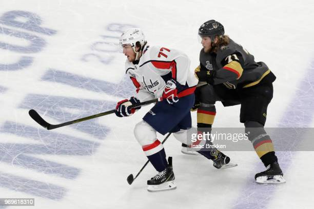 J Oshie of the Washington Capitals and William Karlsson of the Vegas Golden Knights battle for postion during the first period in Game Five of the...