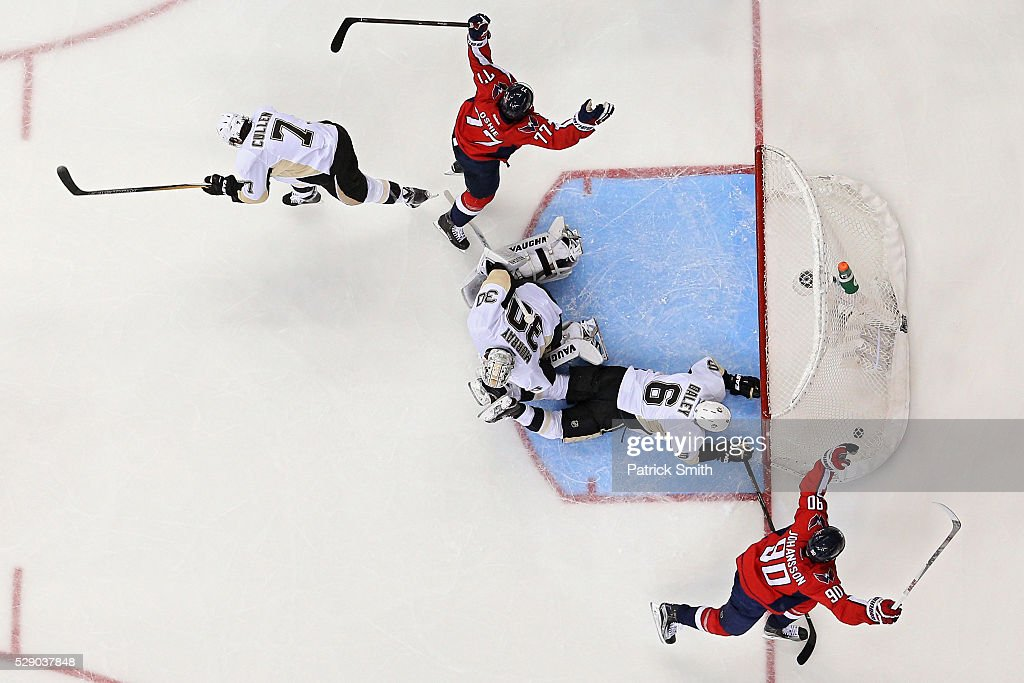 T.J. Oshie #77 of the Washington Capitals celebrates a goal in front of goalie Matt Murray #30 of the Pittsburgh Penguins during the second period in Game Five of the Eastern Conference Second Round during the 2016 NHL Stanley Cup Playoffs at Verizon Center on May 7, 2016 in Washington, DC.