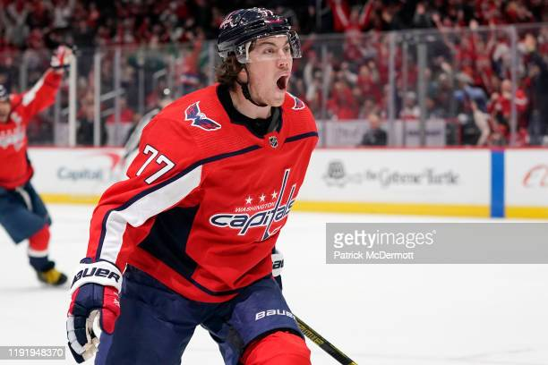 J Oshie of the Washington Capitals celebrates after scoring a goal in the third period against the San Jose Sharks at Capital One Arena on January 5...