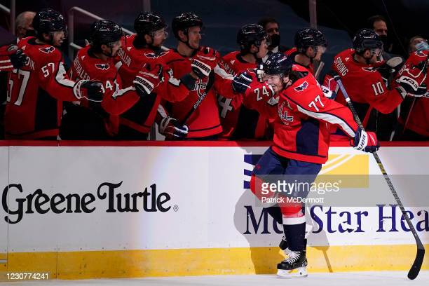 Oshie of the Washington Capitals celebrates after scoring a goal against the Buffalo Sabres in the second period at Capital One Arena on January 24,...