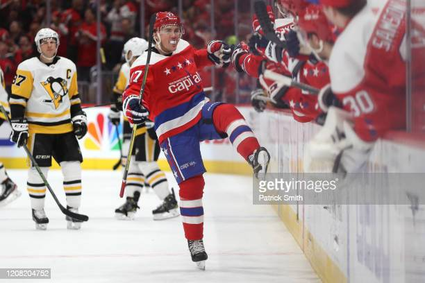 Oshie of the Washington Capitals celebrates his goal against the Pittsburgh Penguins during the third period at Capital One Arena on February 23,...