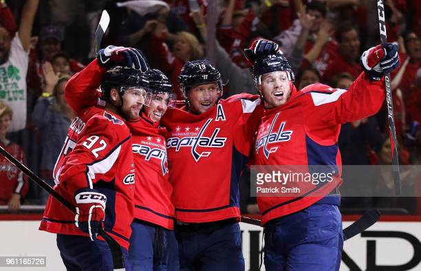 The Tampa Bay Lightning battle against TJ Oshie and Jakub Vrana of the Washington Capitals during Game Six of the Eastern Conference Final during the...
