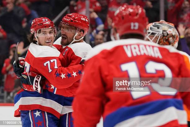 Oshie of the Washington Capitals celebrates with Alex Ovechkin after scoring a goal against the Philadelphia Flyers in the first period at Capital...