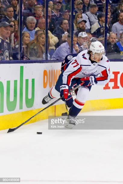J Oshie of the Washington Capitals controls the puck in Game Four of the Eastern Conference First Round during the 2018 NHL Stanley Cup Playoffs...