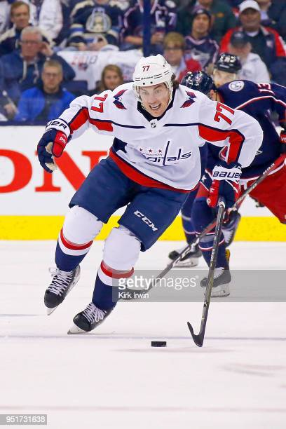 J Oshie of the Washington Capitals controls the puck in Game Six of the Eastern Conference First Round during the 2018 NHL Stanley Cup Playoffs...
