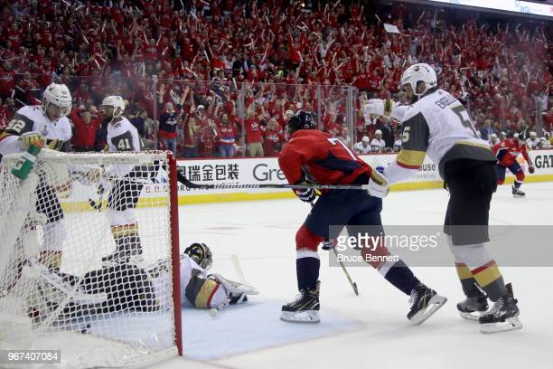 J Oshie of the Washington Capitals scores a firstperiod goal past MarcAndre Fleury of the Vegas Golden Knights in Game Four of the 2018 NHL Stanley...