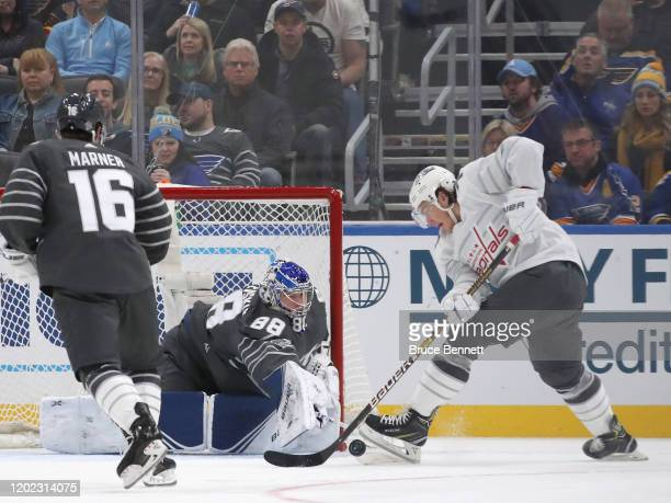T J Oshie of the Washington Capitals skates against Andrei Vasilevskiy of the Tampa Bay Lightning in the game between Metropolitan Division and...