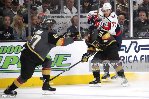 J Oshie of the Washington Capitals skates against the Jonathan Marchessault of the Vegas Golden Knights during the third period in Game Five of the...