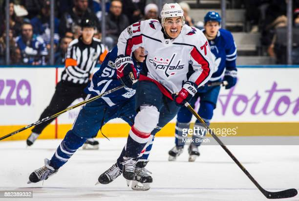 J Oshie of the Washington Capitals skates against the Toronto Maple Leafs during the second period at the Air Canada Centre on November 25 2017 in...