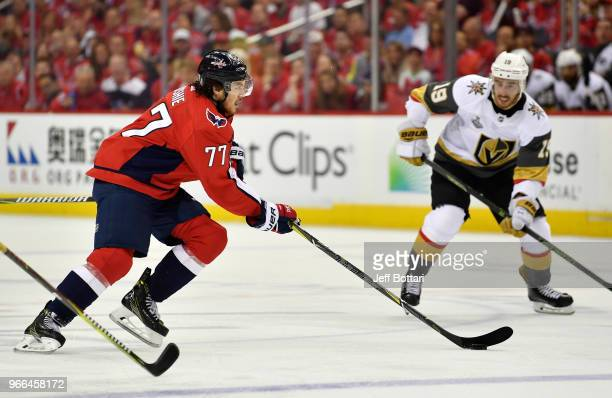 J Oshie of the Washington Capitals skates during the second period against the Vegas Golden Knights in Game Three of the Stanley Cup Final during the...