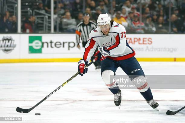 J Oshie of the Washington Capitals takes the puck down the ice during a game against the Los Angeles Kings at Staples Center on February 18 2019 in...