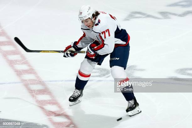 J Oshie of the Washington Capitols reacts during a NHL game against the San Jose Sharks at SAP Center on March 10 2018 in San Jose California