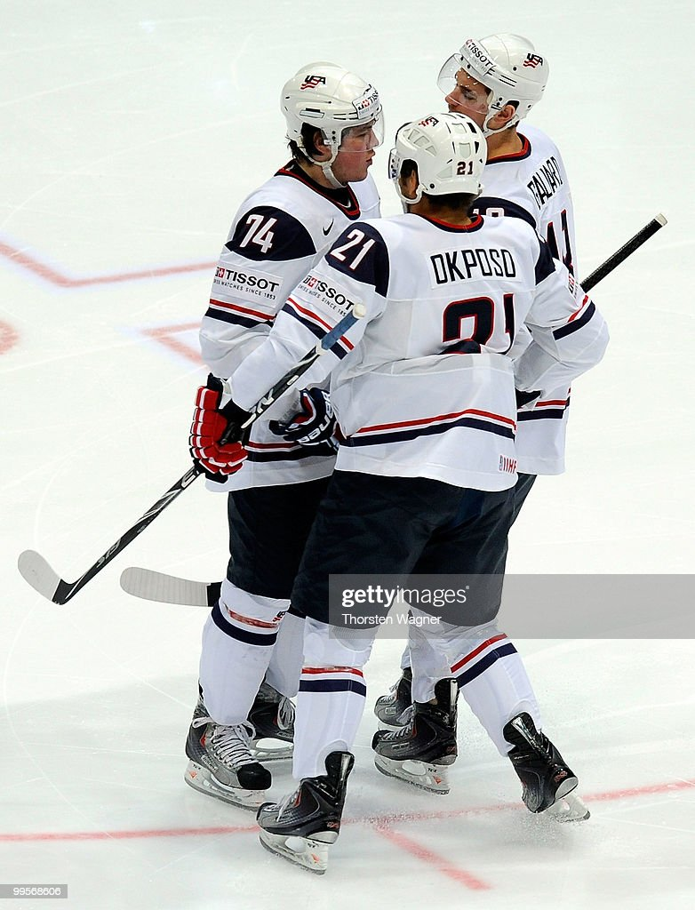 TJ Oshie (L) of United States celebrates after scoring the 1:0 during the IIHF World Championship final round match between USA and Kazakhstan at Lanxess Arena on May 15, 2010 in Cologne, Germany.