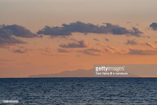 Oshima Island in Tokyo and Sagami Bay, Pacific Ocean in the sunset