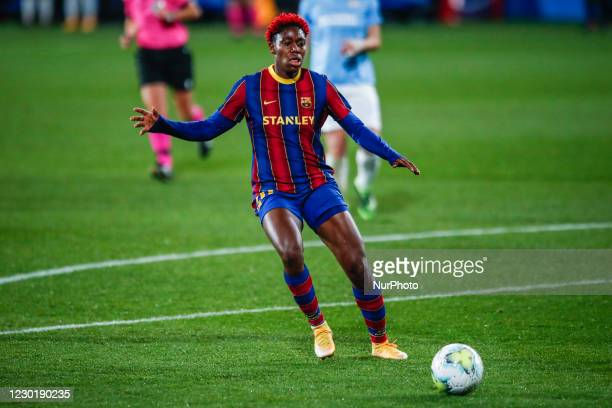 Oshoala of FC Barcelona during the UEFA Champions League Women match between PSV v FC Barcelona at the Johan Cruyff Stadium on December 16, 2020 in...