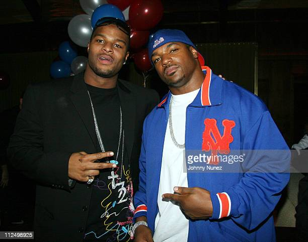 Osi Umenyiora and Dwight Freeney during Osi Umenyiora of the New York Giants Birthday Party November 13 2006 at Marquee in New York City New York...