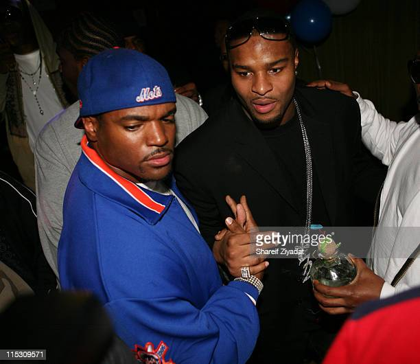 Osi Umenyiora and Dwight Freeney during Osi Umenyiora of the New York Giants Birthday Party November 15 2006 at Marquee in New York City New York...