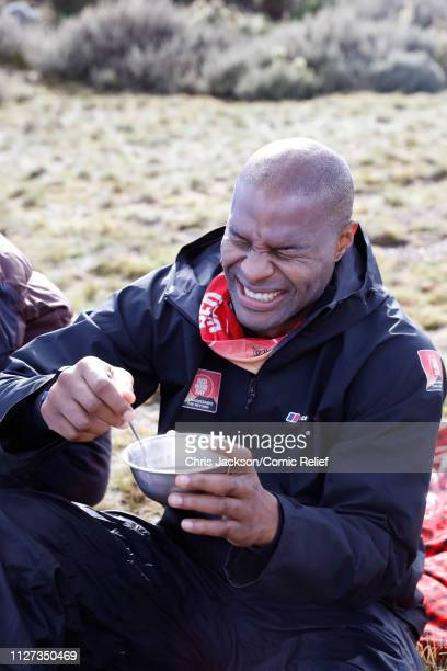 Osi Umenyiora laughs while having some food on day 3 of 'Kilimanjaro The Return' for Red Nose Day on February 25 2019 in Arusha Tanzania All to raise...