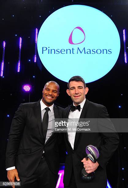 Osi Umenyiora presents Brand of the Year in association with Pinsent Masons to adidas at the BT Sport Industry Awards 2016 at Battersea Evolution on...