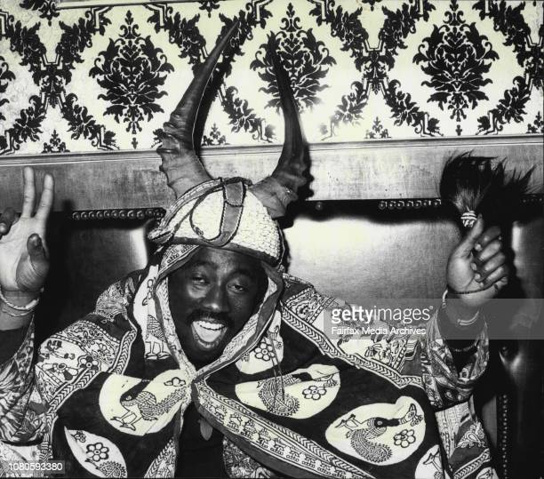 Osibisa at their press conference to night at the Cheaques Night ClubMac Tontoh in traditional cloth amp helmetA member of the Osibisa group of...