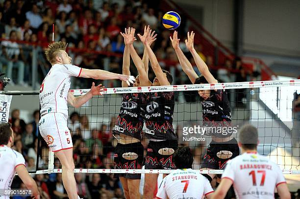 Osimo Italy 01th Mag 2014 Playoff championship Ivan Zaytsev during Italian Serie A match between LUBE Banca Marche MC and Sir Safety Perugia at...