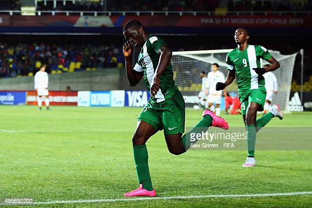 Osinachi Ebere of Nigeria celebrates his team's third goal during the FIFA U17 World Cup Chile 2015 Semi Final match between Mexico and Nigeria at...