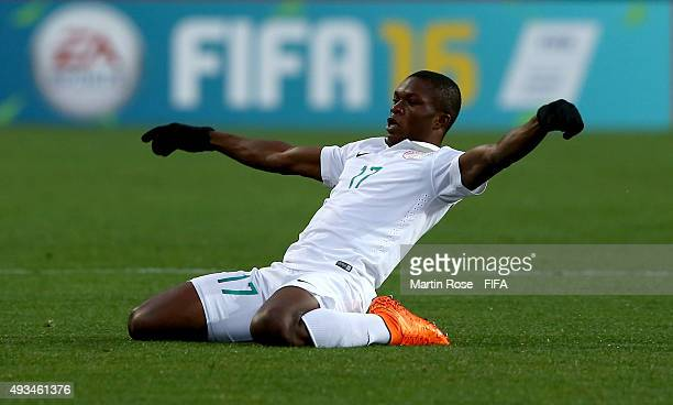 Osinachi Ebere of Nigeria celebrates the opening goal during the FIFA U17 Men's World Cup 2015 group A match between Chile and Nigeria at Estadio...