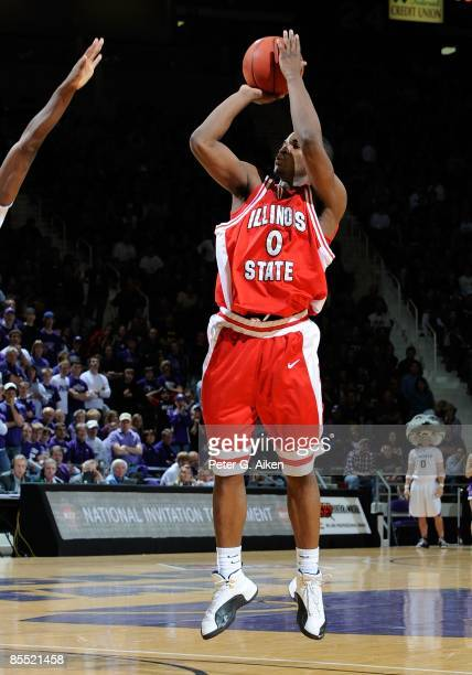 Osiris Eldridge of the Illinois State Redbirds puts up a shot during a first round NIT game against the Kansas State Wildcats on March 18, 2009 at...