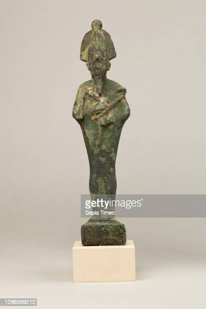 Osiris, Late Period-Ptolemaic Period, ca. 664-30 BC, From Egypt, Cupreous metal, H. 22.9 cm ; W. 5.4 cm ; D. 6.7 cm , Osiris, foremost of the...