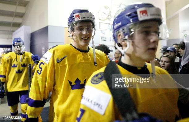 Oskar Back of Sweden versus Finland at the IIHF World Junior Championships at the Save-on-Foods Memorial Centre on December 26, 2018 in Victoria,...