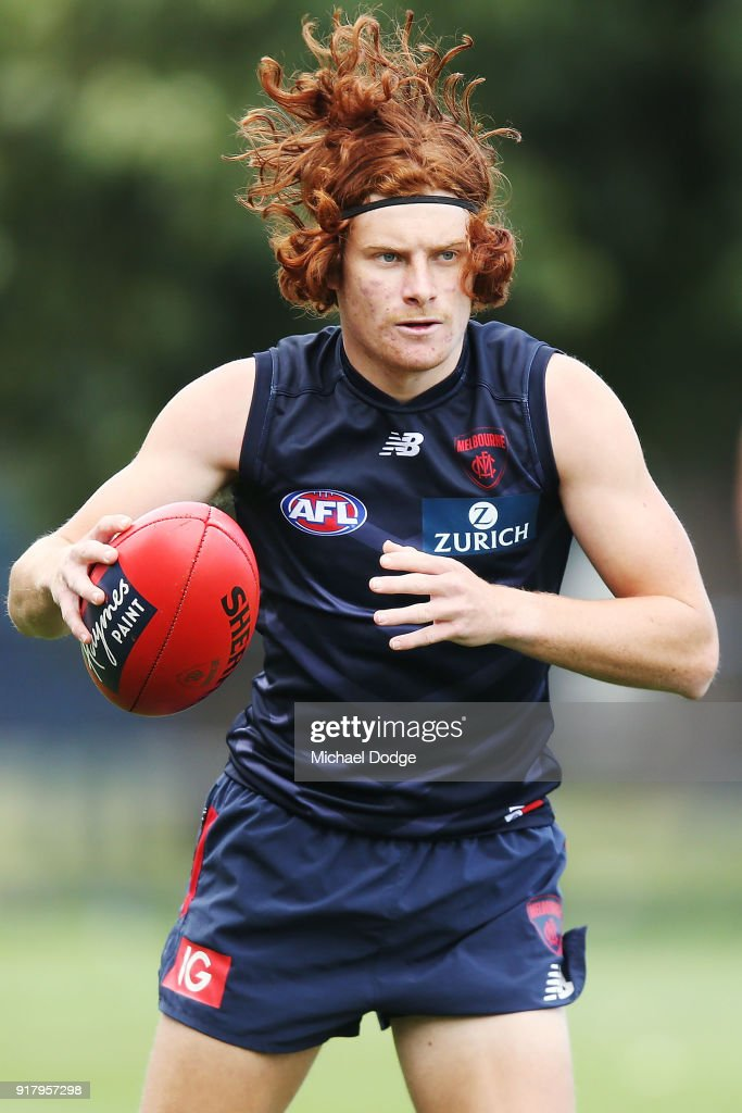 Oskar Baker looks upfield during a Melbourne Demons AFL training session at Gosch's Paddock on February 14, 2018 in Melbourne, Australia.