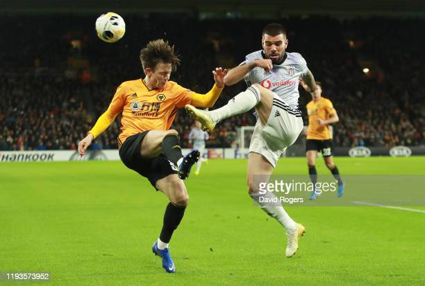 Oskar Buur of Wolverhampton Wanderers challenges for the ball with Pedro Rebocho of Besiktas during the UEFA Europa League group K match between...