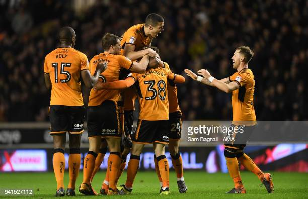 Oskar Buur Rasmussen of Wolverhampton Wanderers celebrates after scoring a goal to make it 22 with Conor Coady during the Sky Bet Championship match...