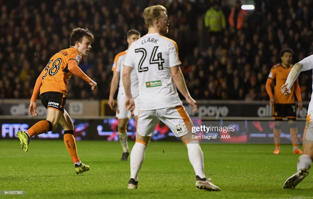 Oskar Buur Rasmussen of Wolverhampton Wanderers scores a goal to make it 2-2 during the Sky Bet Championship match between Wolverhampton Wanderers and Hull City at Molineux on April 2, 2018 in Wolverhampton, England.