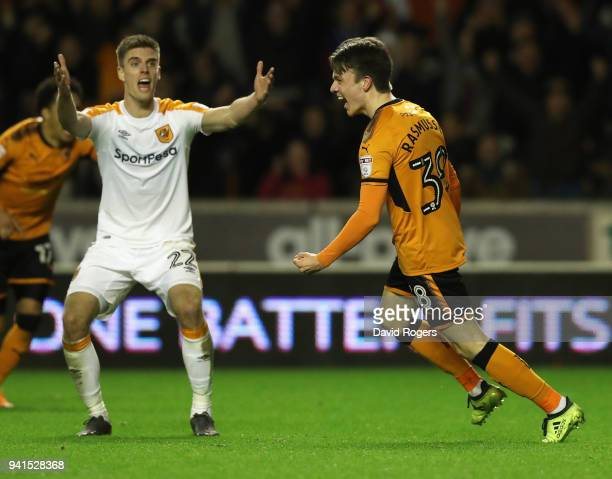 Oskar Buur Rasmussen of Wolves celebrates after scoring their second goal during the Sky Bet Championship match between Wolverhampton Wanderers and...