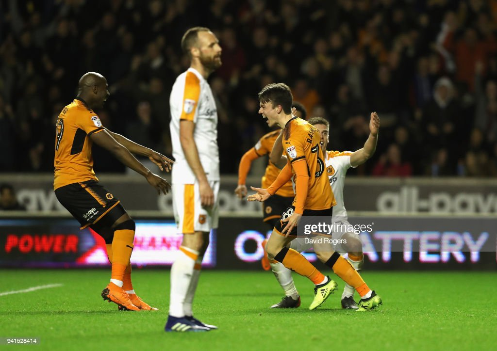 Oskar Buur Rasmussen of Wolves celebrates after scoring their second goal during the Sky Bet Championship match between Wolverhampton Wanderers and Hull City at Molineux on April 3, 2018 in Wolverhampton, England.