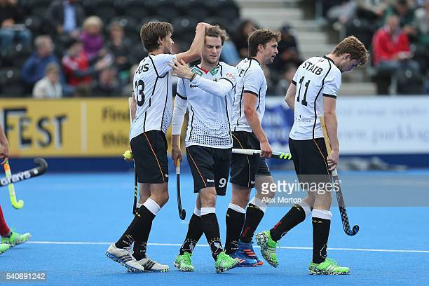Oskar Deecke of Germany celebrates scoring their fifth goal during the FIH Mens Hero Hockey Champions Trophy match between Korea and Germany at Queen...