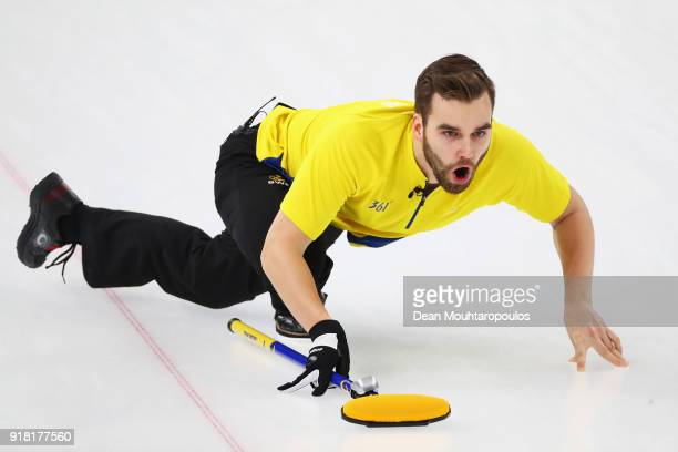 Oskar Eriksson of Sweden competes in the Men's Round Robin Session 1 held at Gangneung Curling Centre on February 14 2018 in Gangneung South Korea