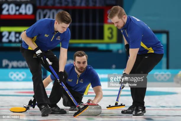 Oskar Eriksson of Sweden delivers a stone agains the United States during the Curling Men's Gold Medal game on day fifteen of the PyeongChang 2018...