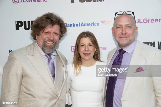 Oskar Eustis Arielle Tepper Madover Patrick Willingham attend the 2018 Public Theater Gala at Delacorte Theater on June 11 2018 in New York City