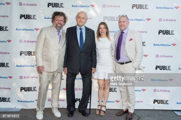 Oskar Eustis Leonard Tow Arielle Tepper Madover and Patrick Willingham attend the 2018 Public Theater Gala at Delacorte Theater on June 11 2018 in...