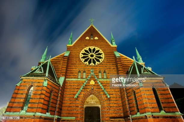 oskar fredriks kyrka kortsidan natt - oskar stock pictures, royalty-free photos & images