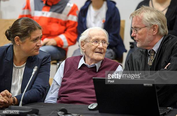 Oskar Groening a former member of the Waffen-SS who worked at the Auschwitz concentration camp during World War II, awaits the verdict in his trial...