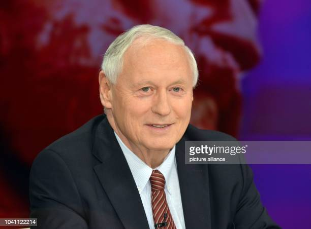 Oskar Lafontaine, former party chairman of The Left Party, sits during the ZDFtalk show Maybrit Illner at ZDFstudions in the Zollernhof Unter den...