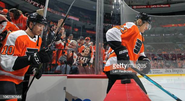 Oskar Lindblom and Corban Knight of the Philadelphia Flyers enters the ice surface for warmups against the New York Islanders on October 27 2018 at...
