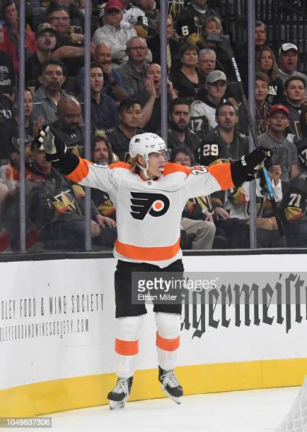 Oskar Lindblom of the Philadelphia Flyers celebrates after scoring a firstperiod goal against the Vegas Golden Knights during their game at TMobile...