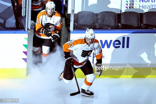 Oskar Lindblom of the Philadelphia Flyers skates out onto the ice prior to Game Six of the Eastern Conference Second Round against the New York...
